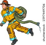The Firefighter Rushes To Help. ...