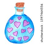 Watercolor Blue Glass Jar With...