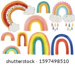 watercolor set  collection of...   Shutterstock . vector #1597498510