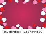 happy valentines day with paper ... | Shutterstock .eps vector #1597544530
