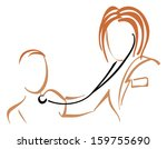 pediatrician with stethoscope | Shutterstock .eps vector #159755690