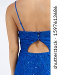 Small photo of Fun, Fashionable Dresses T Carolyn, Pretty Bird Cowl Back Cocktail Dress, Mother of the Bride Dresses & Gowns, Fashion photo of young magnificent woman in a blue dress