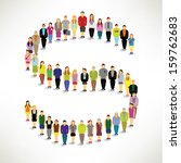 a big group of people gather... | Shutterstock .eps vector #159762683