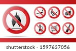 Set Of Red Prohibition Stop...