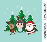 christmas greeting card with... | Shutterstock .eps vector #1597638220