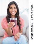 smiling cute brunette sitting... | Shutterstock . vector #159764936