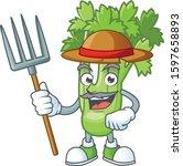 happy farmer celery plant...   Shutterstock .eps vector #1597658893