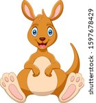 Cartoon Funny Kangaroo Is...