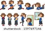 set of happy girl doing...   Shutterstock .eps vector #1597697146