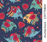 cheerful seamless pattern with... | Shutterstock . vector #159770804