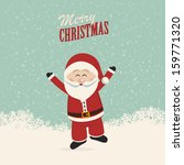 santa claus happy wave and jump | Shutterstock .eps vector #159771320