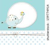 blue baby shower with cartoon... | Shutterstock .eps vector #159774914