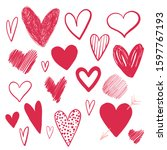 Set Of Doodle Hearts Drawn By...