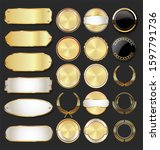 collection of golden badges and ... | Shutterstock . vector #1597791736
