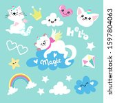 collection with cats unicorns...   Shutterstock .eps vector #1597804063