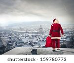 Santa Claus Over The City With...