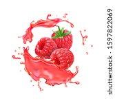 raspberry in juice fresh fruit... | Shutterstock . vector #1597822069