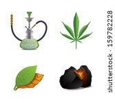 Hookah, tobacco, marijuana and coal icon set vector illustration