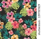 Seamless Tropical Flower Vector ...