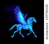 Raster version. Blue fire Pegasus in motion on black background. - stock photo