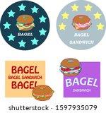 bagel sandwich label  icon... | Shutterstock .eps vector #1597935079