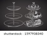 three tier serving tray. hand... | Shutterstock .eps vector #1597938340