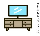television desk or rack with... | Shutterstock .eps vector #1597962859