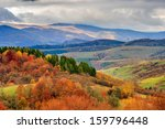 autumn mountain landscape. hillside with pine and Colorful foliage aspen trees near green valley - stock photo