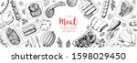 meat products top view frame.... | Shutterstock .eps vector #1598029450