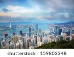 hong kong skyline from victoria ... | Shutterstock . vector #159803348