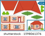 diy miniature. cut and glue the ... | Shutterstock .eps vector #1598061376