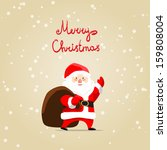 merry christmas card with santa ...   Shutterstock .eps vector #159808004