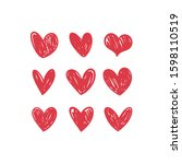 heart doodles collection. set... | Shutterstock .eps vector #1598110519