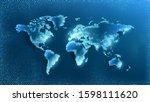 vector. map on a blue... | Shutterstock .eps vector #1598111620