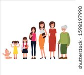 woman in different age. from... | Shutterstock .eps vector #1598197990