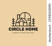 circle home monoline logo... | Shutterstock .eps vector #1598203090