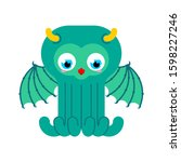 cute cthulhu baby isolated.... | Shutterstock .eps vector #1598227246