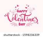 pink happy valentine's day font ... | Shutterstock .eps vector #1598236339