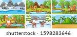 background scenes of animals in ... | Shutterstock .eps vector #1598283646