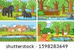 background scenes of animals in ...   Shutterstock .eps vector #1598283649