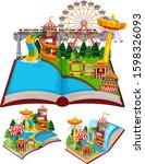 circus scenes in pop up book... | Shutterstock .eps vector #1598326093