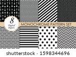 black and white pattern set  ... | Shutterstock .eps vector #1598344696