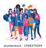 business woman in tech.... | Shutterstock .eps vector #1598370349