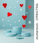 valentines hearts with blue... | Shutterstock . vector #1598417566