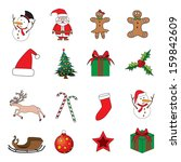 set of christmas icons vector... | Shutterstock .eps vector #159842609