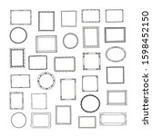 hand drawn frames big set. cute ... | Shutterstock .eps vector #1598452150