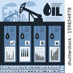 Oil Industry Infographic Elements. Plus Icon Set. Opportunity to Highlight any Country On the World Map. Vector Illustration EPS 10. - stock vector