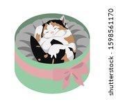 cute little kitten sleeping in... | Shutterstock .eps vector #1598561170