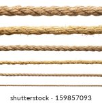 Stock photo hemp rope isolate ropes collection on white 159857093