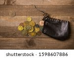 old black leather money bag and ...   Shutterstock . vector #1598607886
